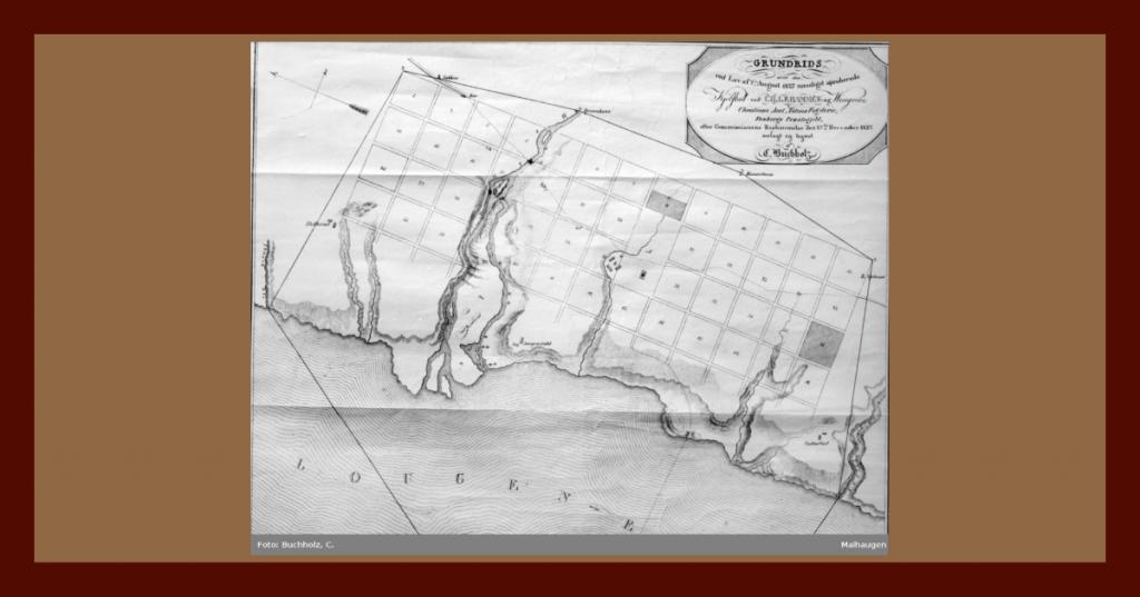 Første kart over Lillehammer, utarbeidet av C. Buchholz, Digitalt museum: Maihaugen.