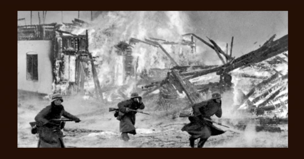 Fra kampene mellom norske og tyske soldater i Gausdal under det tyske angrepet på Norge under andre verdenskrig i april 1940 Foto: Deutsches Bundesarchiv